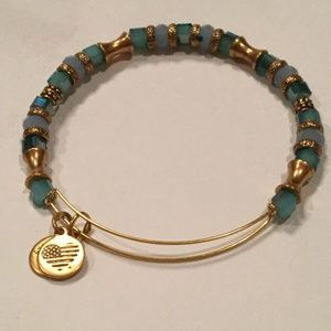 Alex & Ani Blue Beaded Gold Tone Bracelet